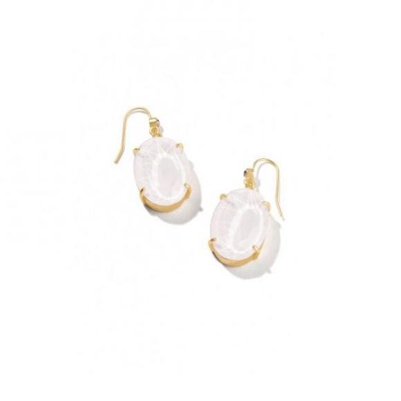 Spartina 449 White Mermaid Glass Oval Earrings